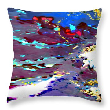 New Year's Day Rain On Snow Throw Pillow by Mathilde Vhargon
