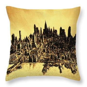 New York Skyline 78 - Mid Manhattan Ink Watercolor Painting Throw Pillow