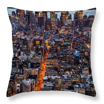 New York Aerial Cityscape Throw Pillow by Mihai Andritoiu