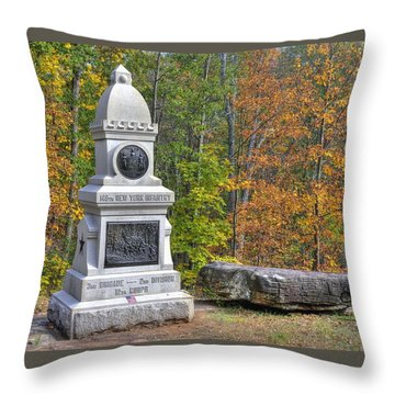 New York At Gettysburg - 149th Ny Infantry Autumn Mid-afternoon Culp's Hill Throw Pillow by Michael Mazaika