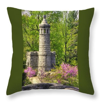 New York At Gettysburg - Monument To 12th / 44th Ny Infantry Regiments-2a Little Round Top Spring Throw Pillow by Michael Mazaika