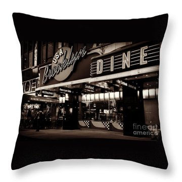 New York At Night - Brooklyn Diner - Sepia Throw Pillow by Miriam Danar