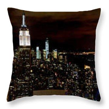 New York At Night Panorama Throw Pillow