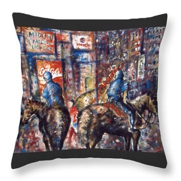 New York Broadway At Night - Oil On Canvas Painting Throw Pillow