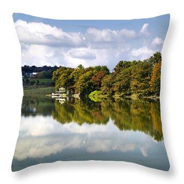 Throw Pillow featuring the photograph New York Cincinnatus Lake by Christina Rollo