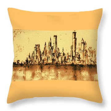 New York City Skyline 79 - Water Color Panorama Throw Pillow