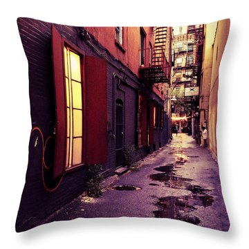 New York City Alley Throw Pillow by Vivienne Gucwa