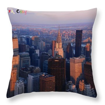 New York City At Dusk Throw Pillow