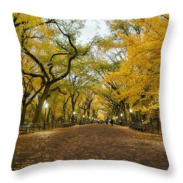 New York City - Autumn - Central Park - Literary Walk Throw Pillow by Vivienne Gucwa