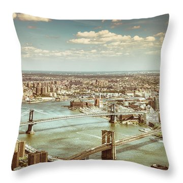 New York City - Brooklyn Bridge And Manhattan Bridge From Above Throw Pillow by Vivienne Gucwa