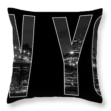 New York City Brooklyn Bridge Bw Throw Pillow