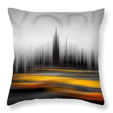New York City Cabs Abstract Throw Pillow by Az Jackson