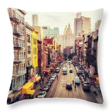 New York City - Chinatown Street Throw Pillow by Vivienne Gucwa