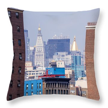 New York City From Brooklyn Bridge Throw Pillow