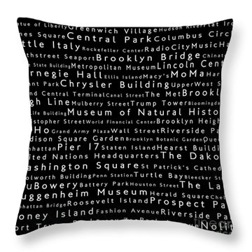 New York City In Words Black Throw Pillow by Sabine Jacobs