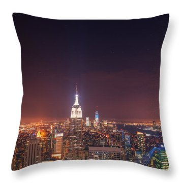 New York City Lights At Night Throw Pillow by Vivienne Gucwa