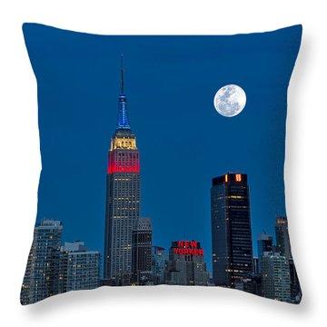 New York City Moonrise  Throw Pillow by Susan Candelario