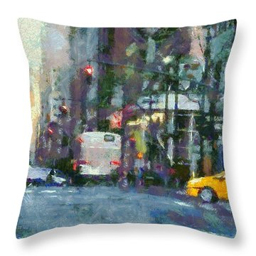New York City Morning In The Street Throw Pillow by Dan Sproul