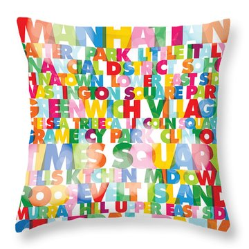 New York City Names Throw Pillow by Gary Grayson