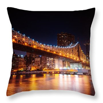New York City - Night Lights Throw Pillow by Vivienne Gucwa