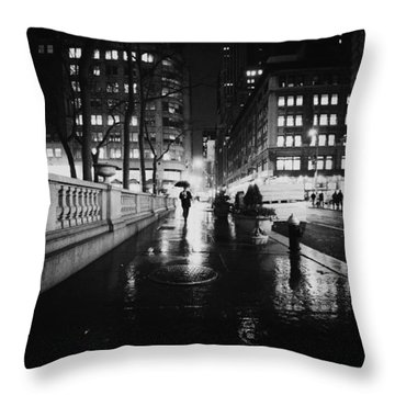 New York City - Night Rain Throw Pillow by Vivienne Gucwa