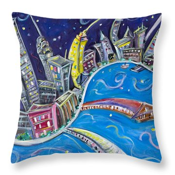 New York City Nights Throw Pillow by Jason Gluskin