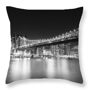 New York City - Queensboro Bridge At Night Throw Pillow by Vivienne Gucwa