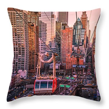 New York City - Skycrapers And The Roosevelt Island Tram Throw Pillow by Vivienne Gucwa