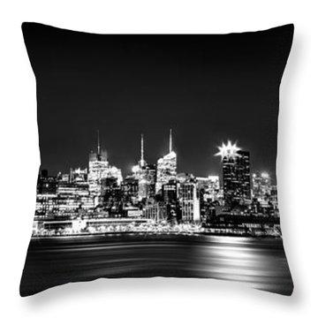 New York City Skyline - Bw Throw Pillow
