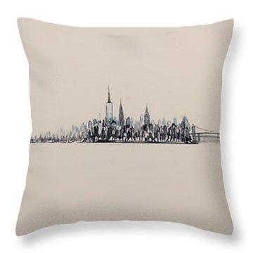 New York City Skyline 15x45 2013 Throw Pillow