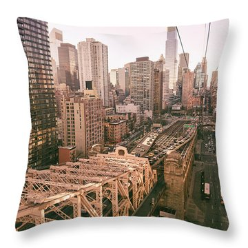 New York City Skyline - Above The City Throw Pillow by Vivienne Gucwa