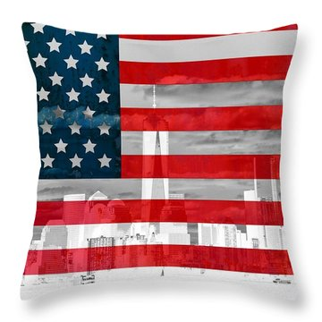 New York City Skyline And American Flag Throw Pillow