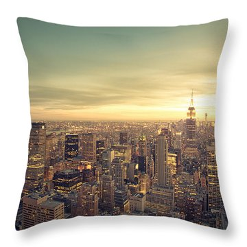 New York City - Skyline At Sunset Throw Pillow by Vivienne Gucwa