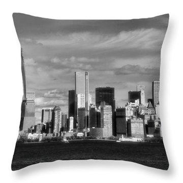 New York City Skyline Black And White Throw Pillow