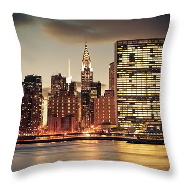 New York City Skyline - Evening View Throw Pillow by Vivienne Gucwa