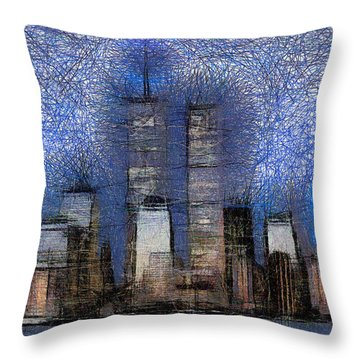 New York City Blue And White Skyline Throw Pillow by Georgi Dimitrov
