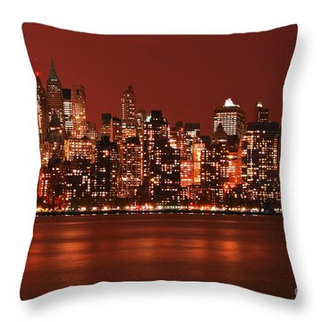 New York City Skyline In Red Throw Pillow