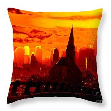 New York City Skyline Inferno Throw Pillow by Ed Weidman