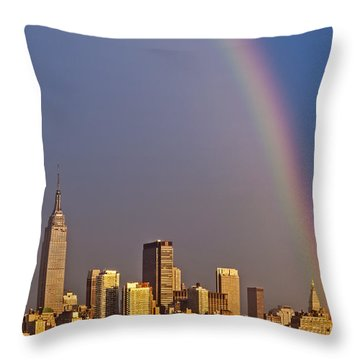 New York City Skyline Rainbow Throw Pillow by Susan Candelario