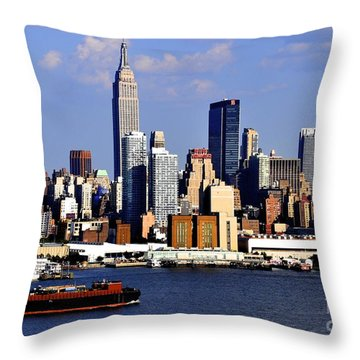 New York City Skyline With Empire State And Red Boat Throw Pillow by Kathy Flood