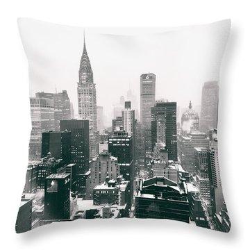 New York City - Snow-covered Skyline Throw Pillow