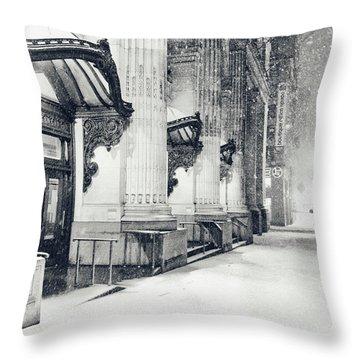 New York City - Snowy Winter Night Throw Pillow by Vivienne Gucwa