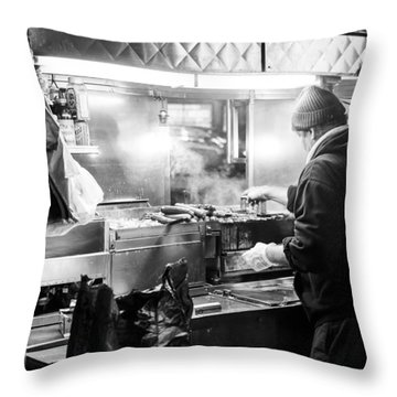 New York City Street Vendor Throw Pillow