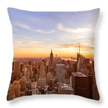 New York City - Sunset Skyline Throw Pillow
