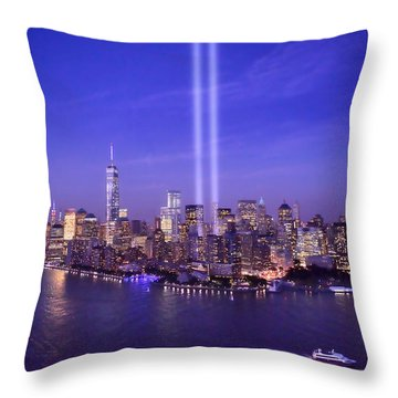 Throw Pillow featuring the photograph New York City Tribute In Lights World Trade Center Wtc Manhattan Nyc by Jon Holiday