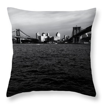 New York City - Two Bridges Throw Pillow by Vivienne Gucwa