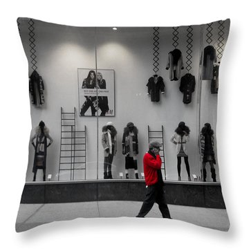 New York City Window Display Throw Pillow