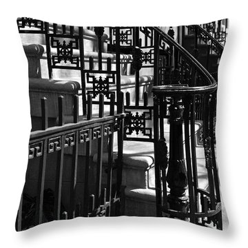 Throw Pillow featuring the photograph New York City Wrought Iron by Rona Black