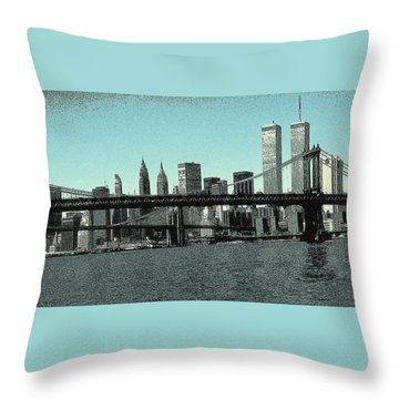 New York Downtown Manhattan Skyline - Blue Panorama Throw Pillow