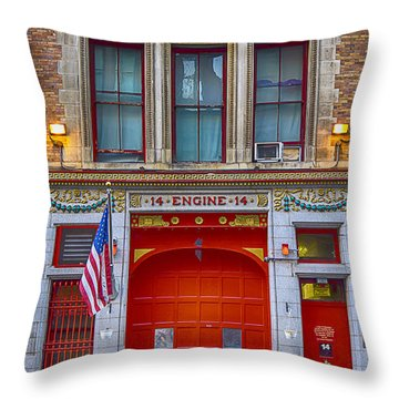 New York Fire Station Throw Pillow